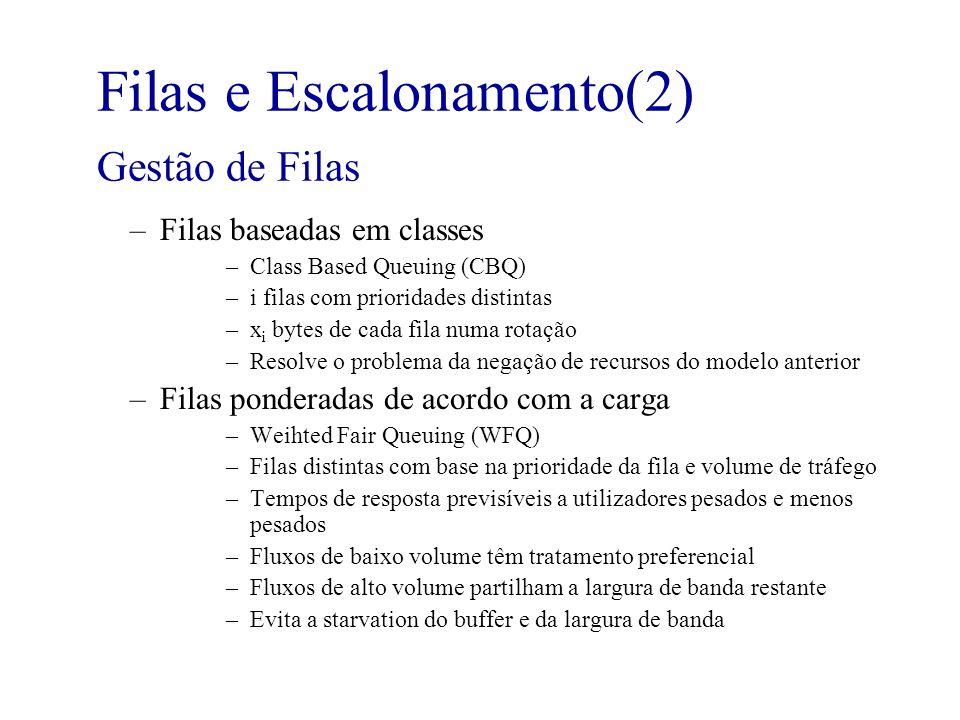 Filas e Escalonamento(2) Gestão de Filas –Filas baseadas em classes –Class Based Queuing (CBQ) –i filas com prioridades distintas –x i bytes de cada f