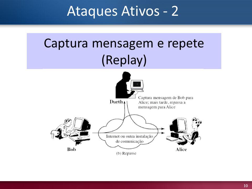 10 Captura mensagem e repete (Replay) Ataques Ativos - 2