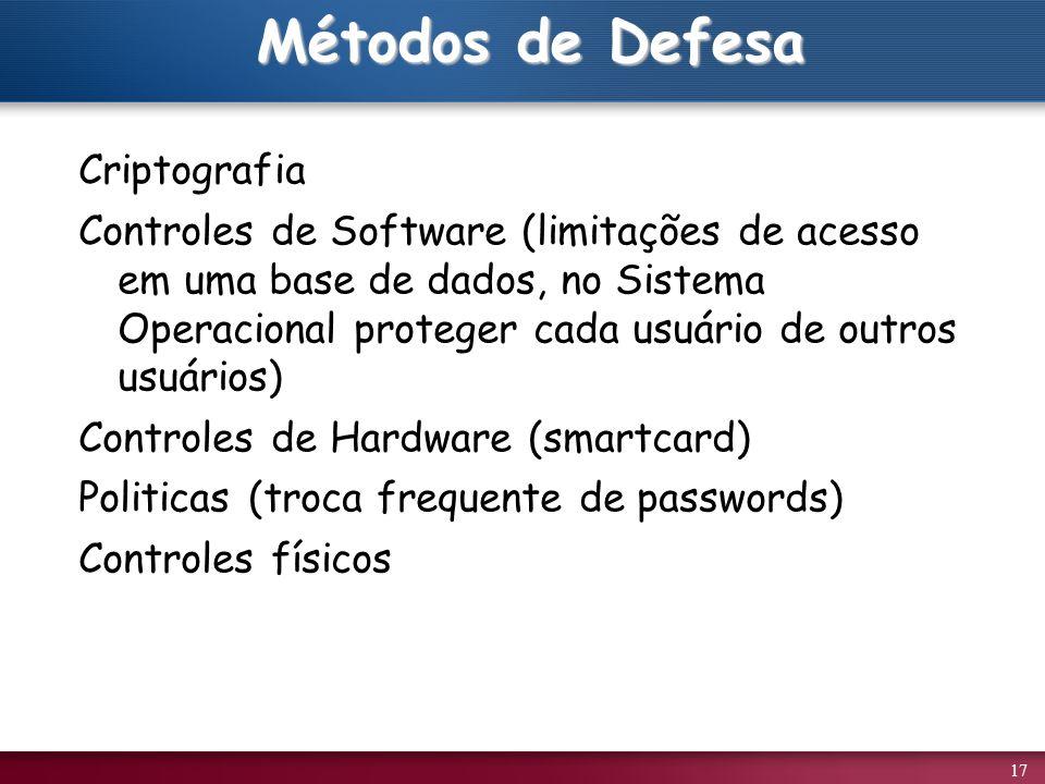 17 Métodos de Defesa Criptografia Controles de Software (limitações de acesso em uma base de dados, no Sistema Operacional proteger cada usuário de outros usuários) Controles de Hardware (smartcard) Politicas (troca frequente de passwords) Controles físicos