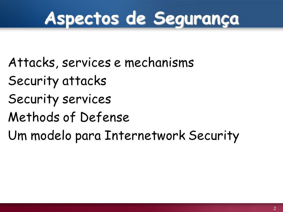 2 Aspectos de Segurança Attacks, services e mechanisms Security attacks Security services Methods of Defense Um modelo para Internetwork Security