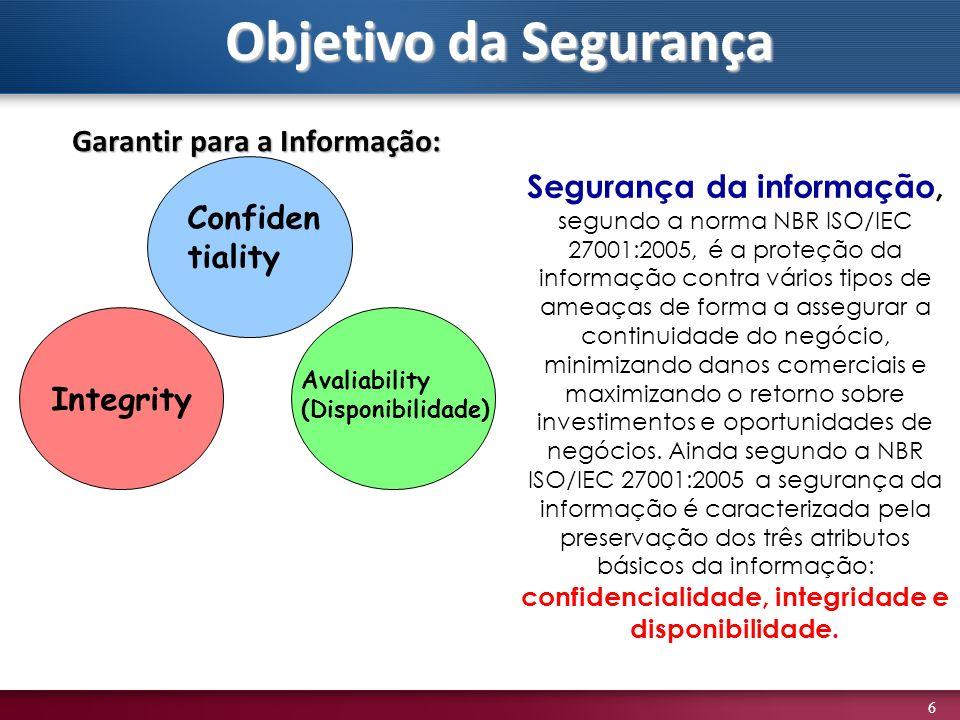 6 Garantir para a Informação: Integrity Confiden tiality Avaliability (Disponibilidade) Segurança da informação, segundo a norma NBR ISO/IEC 27001:200