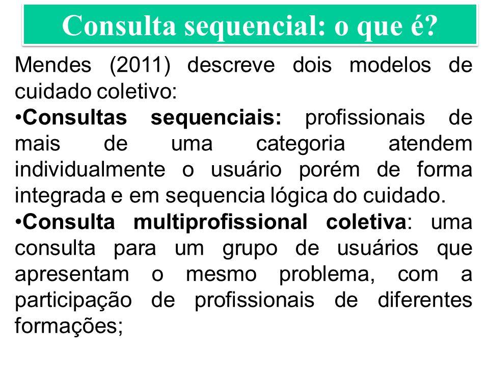 Mendes (2011) descreve dois modelos de cuidado coletivo: Consultas sequenciais: profissionais de mais de uma categoria atendem individualmente o usuário porém de forma integrada e em sequencia lógica do cuidado.
