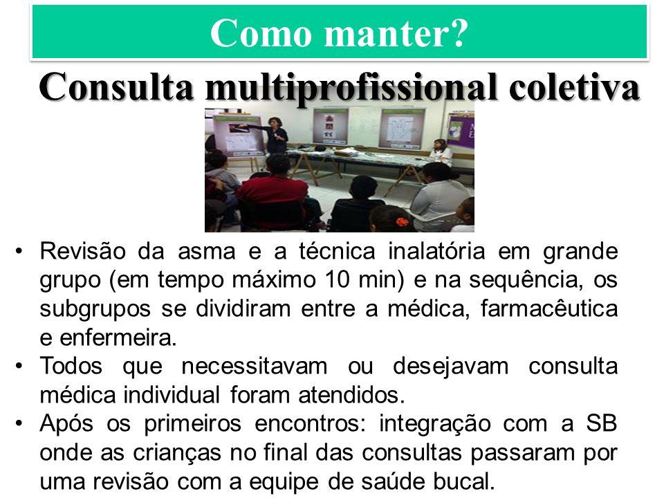 Consulta multiprofissional coletiva Revisão da asma e a técnica inalatória em grande grupo (em tempo máximo 10 min) e na sequência, os subgrupos se dividiram entre a médica, farmacêutica e enfermeira.