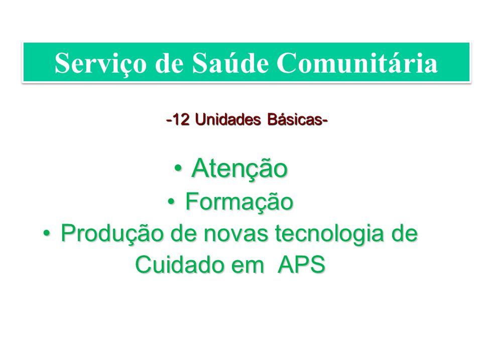 AtençãoAtenção FormaçãoFormação Produção de novas tecnologia deProdução de novas tecnologia de Cuidado em APS - 12 Unidades Básicas- Serviço de Saúde Comunitária