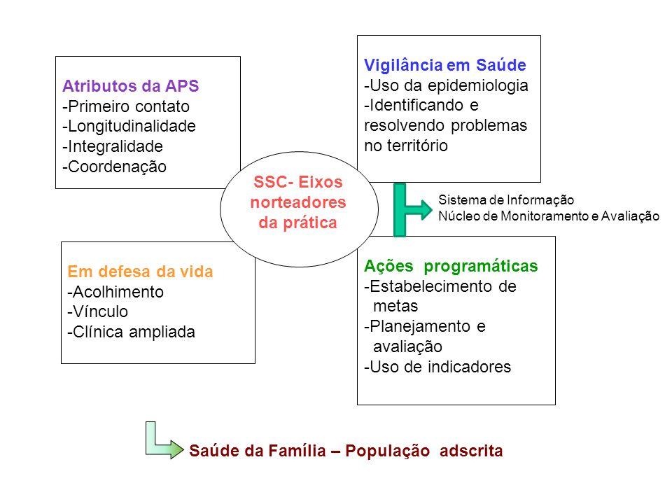 Atributos da APS -Primeiro contato -Longitudinalidade -Integralidade -Coordenação Ações programáticas -Estabelecimento de metas -Planejamento e avaliação -Uso de indicadores Vigilância em Saúde -Uso da epidemiologia -Identificando e resolvendo problemas no território Em defesa da vida -Acolhimento -Vínculo -Clínica ampliada SSC- Eixos norteadores da prática Sistema de Informação Núcleo de Monitoramento e Avaliação Saúde da Família – População adscrita
