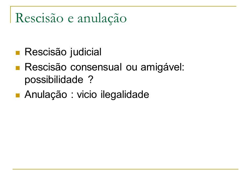 Rescisão e anulação Rescisão judicial Rescisão consensual ou amigável: possibilidade .