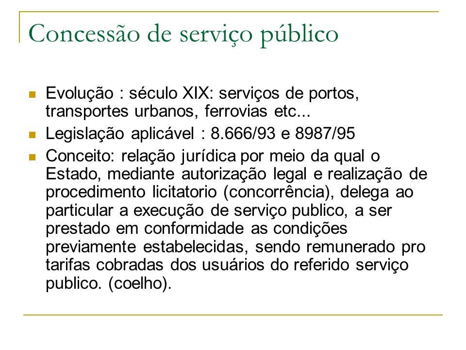 Concessão de serviço público Evolução : século XIX: serviços de portos, transportes urbanos, ferrovias etc...