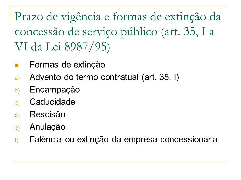 Prazo de vigência e formas de extinção da concessão de serviço público (art.