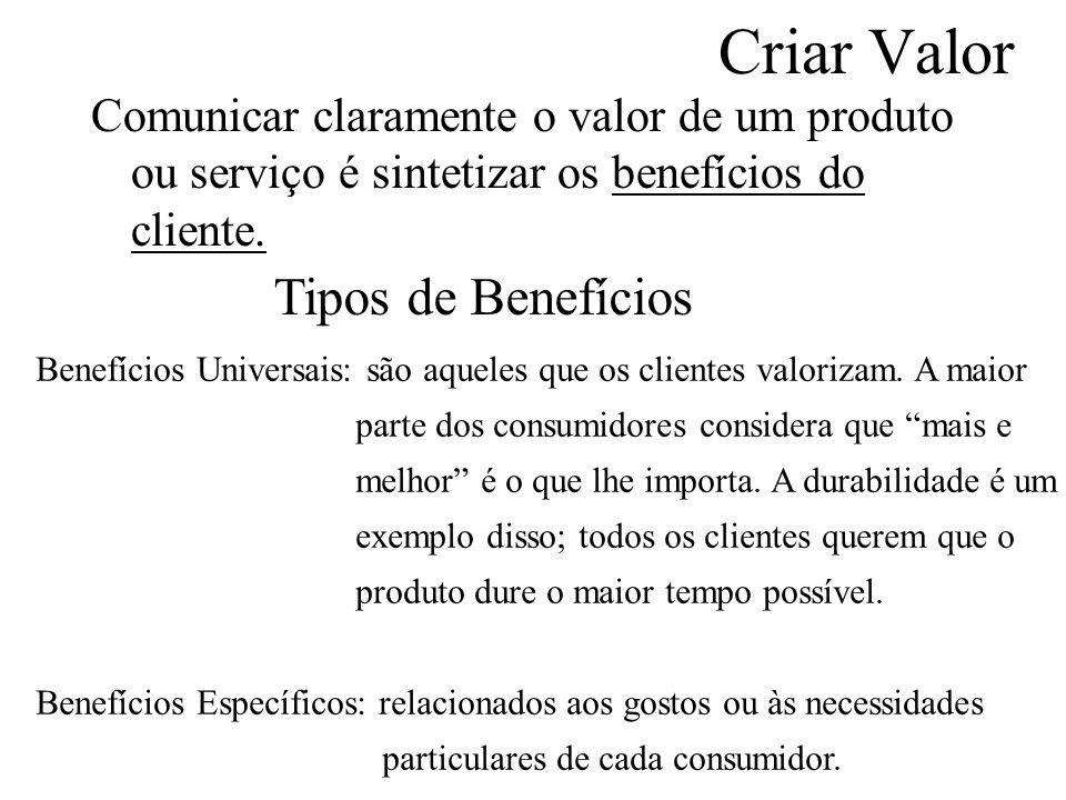Criar Valor Comunicar claramente o valor de um produto ou serviço é sintetizar os benefícios do cliente.