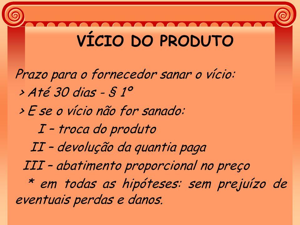 VÍCIO DO PRODUTO Prazo para o fornecedor sanar o vício: > Até 30 dias - § 1º > E se o vício não for sanado: I – troca do produto II – devolução da qua