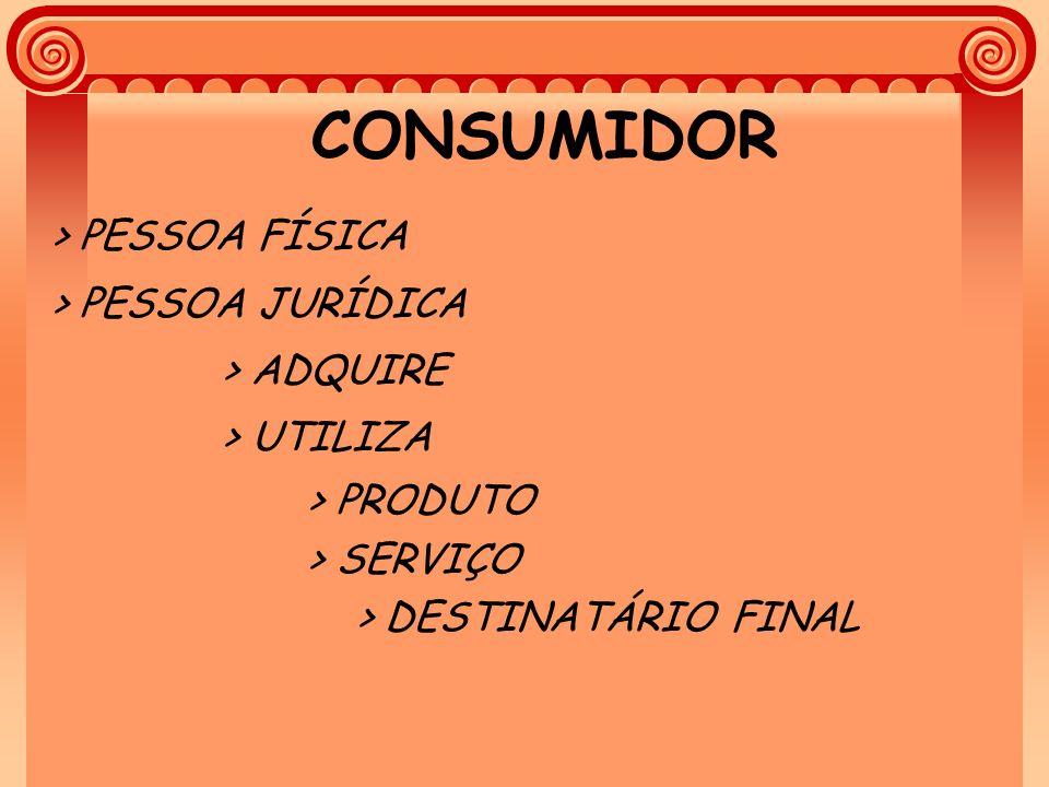 CONSUMIDOR > PESSOA FÍSICA > PESSOA JURÍDICA > ADQUIRE > UTILIZA > PRODUTO > SERVIÇO > DESTINATÁRIO FINAL