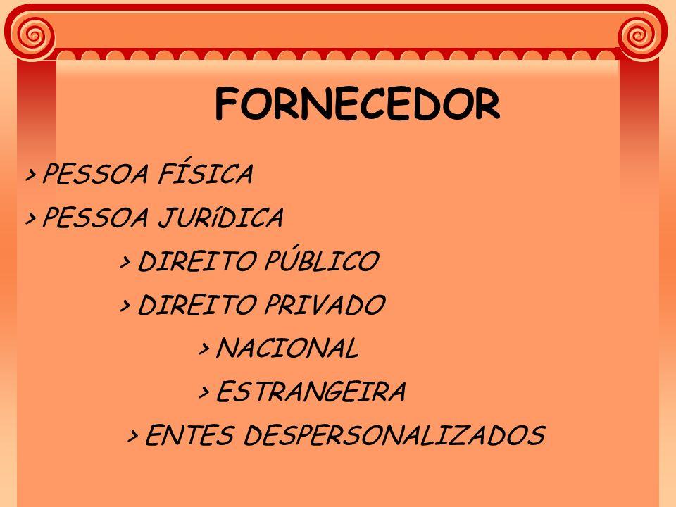 FORNECEDOR > PESSOA FÍSICA > PESSOA JURíDICA > DIREITO PÚBLICO > DIREITO PRIVADO > NACIONAL > ESTRANGEIRA > ENTES DESPERSONALIZADOS