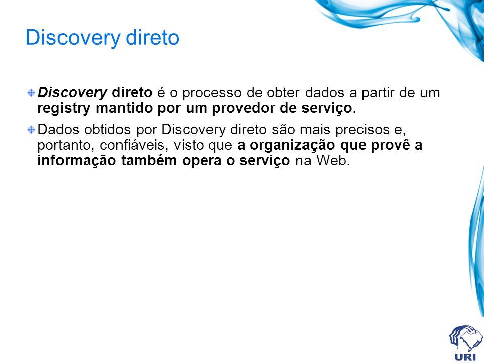 Discovery direto Discovery direto é o processo de obter dados a partir de um registry mantido por um provedor de serviço. Dados obtidos por Discovery