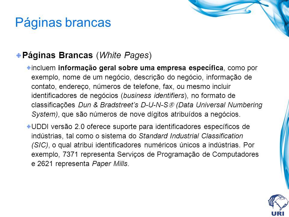 Páginas brancas Páginas Brancas (White Pages) incluem informação geral sobre uma empresa específica, como por exemplo, nome de um negócio, descrição do negócio, informação de contato, endereço, números de telefone, fax, ou mesmo incluir identificadores de negócios (business identifiers), no formato de classificações Dun & Bradstreets D-U-N-S (Data Universal Numbering System), que são números de nove dígitos atribuídos a negócios.