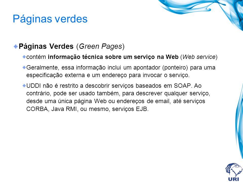 Páginas verdes Páginas Verdes (Green Pages) contém informação técnica sobre um serviço na Web (Web service) Geralmente, essa informação inclui um apontador (ponteiro) para uma especificação externa e um endereço para invocar o serviço.