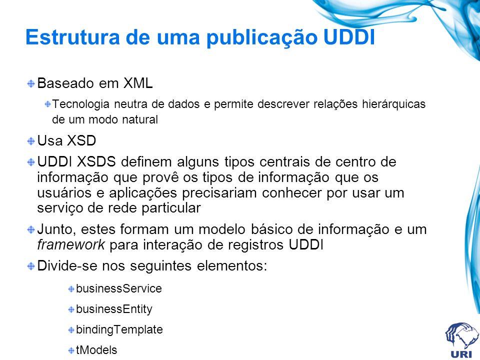 Estrutura de uma publicação UDDI Baseado em XML Tecnologia neutra de dados e permite descrever relações hierárquicas de um modo natural Usa XSD UDDI XSDS definem alguns tipos centrais de centro de informação que provê os tipos de informação que os usuários e aplicações precisariam conhecer por usar um serviço de rede particular Junto, estes formam um modelo básico de informação e um framework para interação de registros UDDI Divide-se nos seguintes elementos: businessService businessEntity bindingTemplate tModels