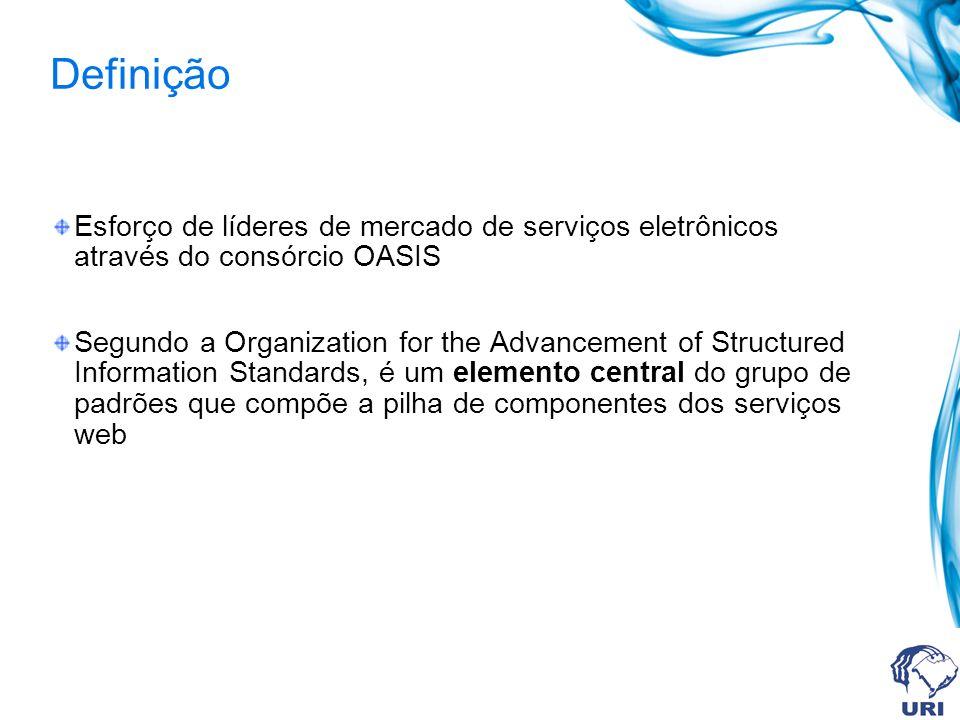 Definição Esforço de líderes de mercado de serviços eletrônicos através do consórcio OASIS Segundo a Organization for the Advancement of Structured In