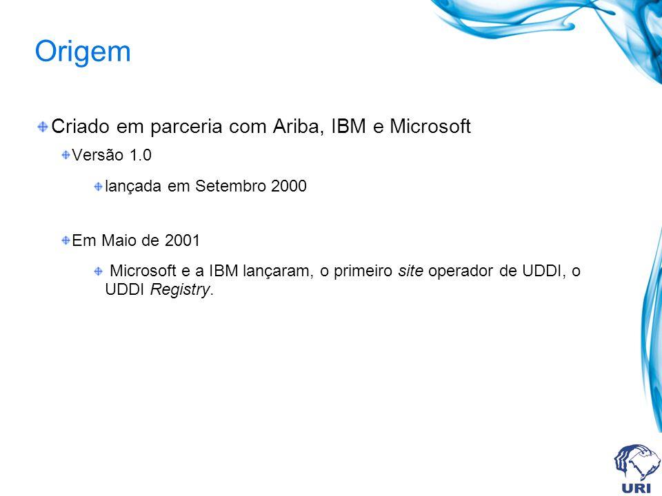 Origem Criado em parceria com Ariba, IBM e Microsoft Versão 1.0 lançada em Setembro 2000 Em Maio de 2001 Microsoft e a IBM lançaram, o primeiro site operador de UDDI, o UDDI Registry.