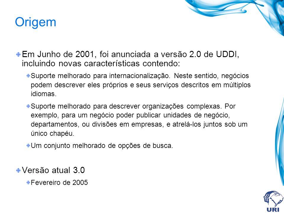 Origem Em Junho de 2001, foi anunciada a versão 2.0 de UDDI, incluindo novas características contendo: Suporte melhorado para internacionalização. Nes