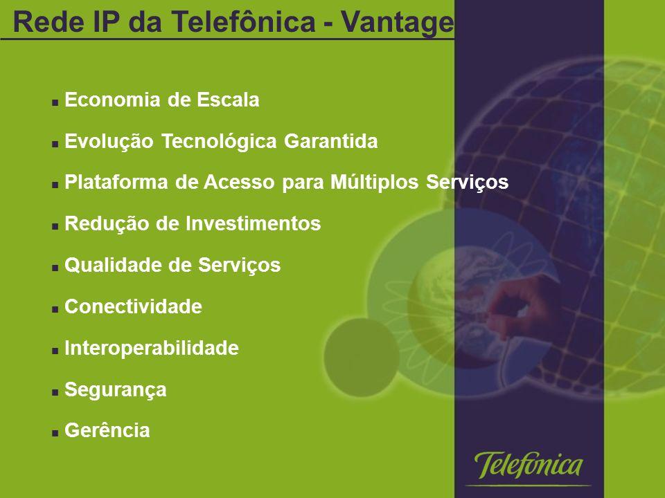 Economia de Escala Evolução Tecnológica Garantida Plataforma de Acesso para Múltiplos Serviços Redução de Investimentos Qualidade de Serviços Conectividade Interoperabilidade Segurança Gerência Rede IP da Telefônica - Vantagens