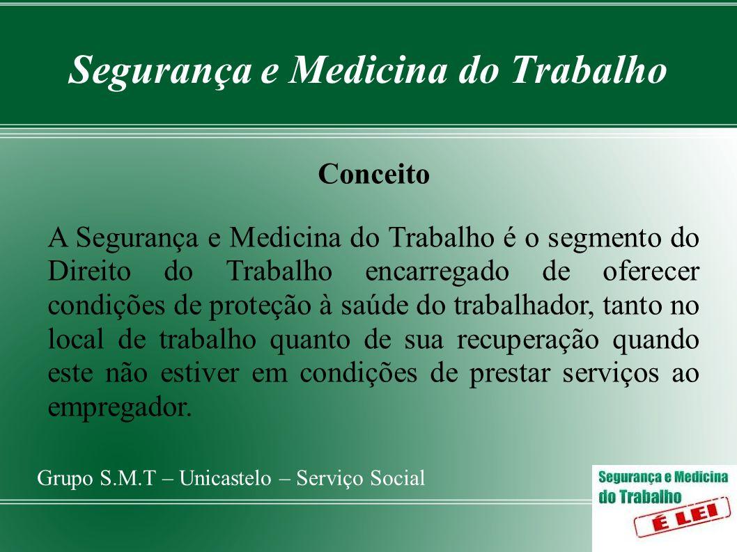Segurança e Medicina do Trabalho Grupo S.M.T – Unicastelo – Serviço Social CLT – artigos 154 a 201 Regulamenta a S.M.T.