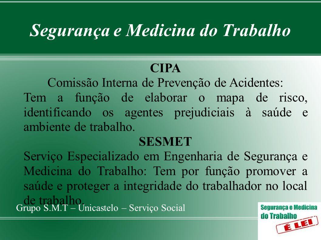 Segurança e Medicina do Trabalho Grupo S.M.T – Unicastelo – Serviço Social CIPA Comissão Interna de Prevenção de Acidentes: Tem a função de elaborar o