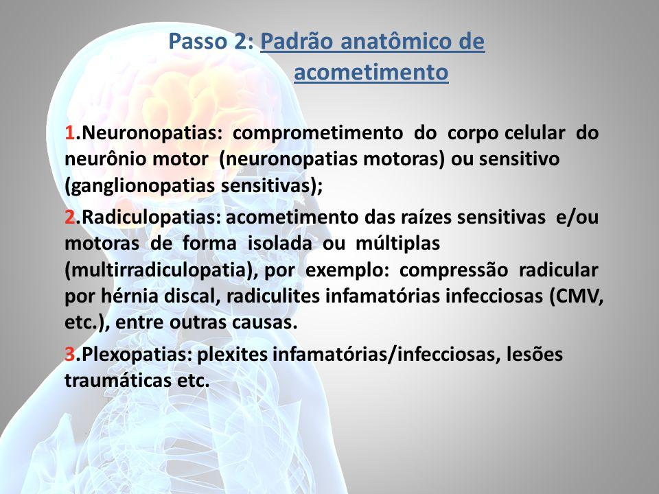 Passo 2: Padrão anatômico de acometimento 1.Neuronopatias: comprometimento do corpo celular do neurônio motor (neuronopatias motoras) ou sensitivo (ga