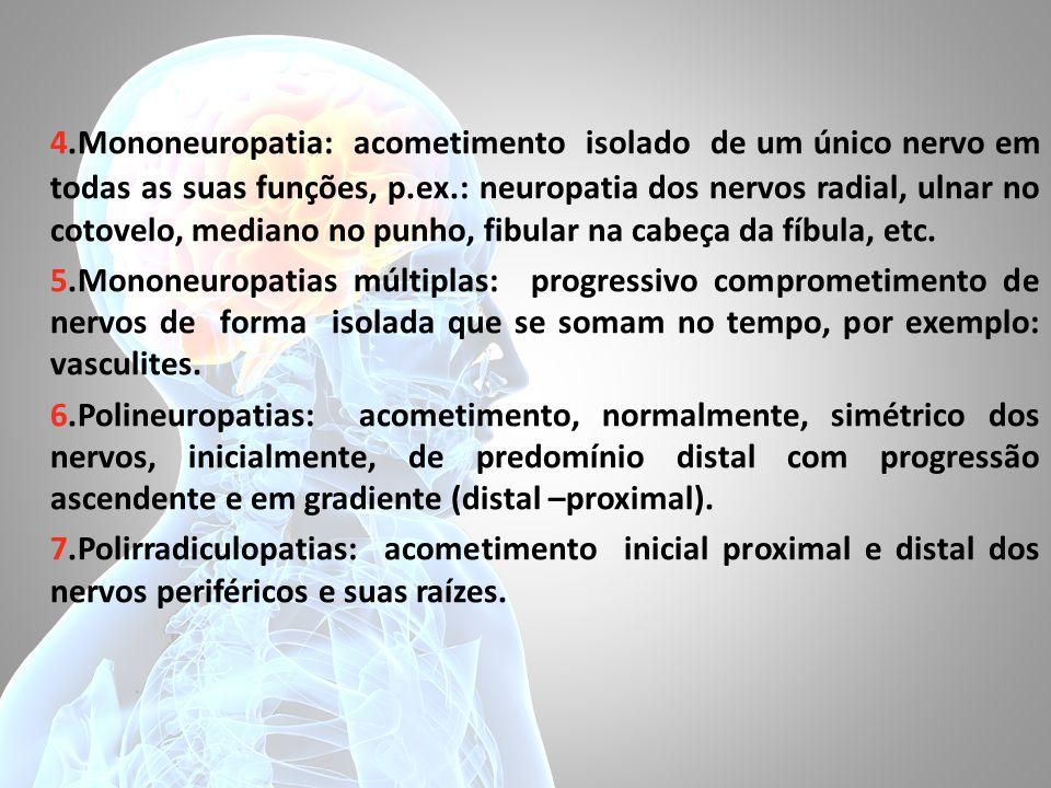 4.Mononeuropatia: acometimento isolado de um único nervo em todas as suas funções, p.ex.: neuropatia dos nervos radial, ulnar no cotovelo, mediano no punho, fibular na cabeça da fíbula, etc.