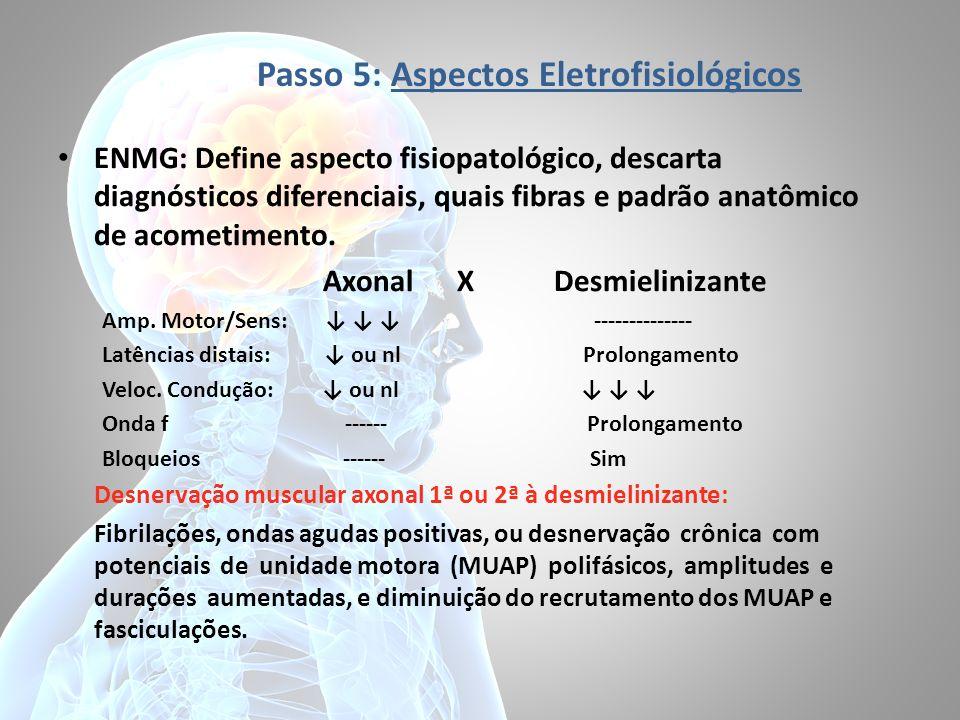 Passo 5: Aspectos Eletrofisiológicos ENMG: Define aspecto fisiopatológico, descarta diagnósticos diferenciais, quais fibras e padrão anatômico de acometimento.