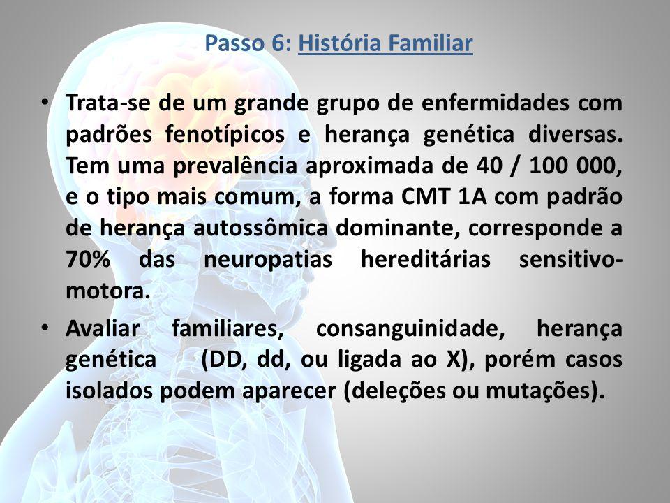 Passo 6: História Familiar Trata-se de um grande grupo de enfermidades com padrões fenotípicos e herança genética diversas. Tem uma prevalência aproxi