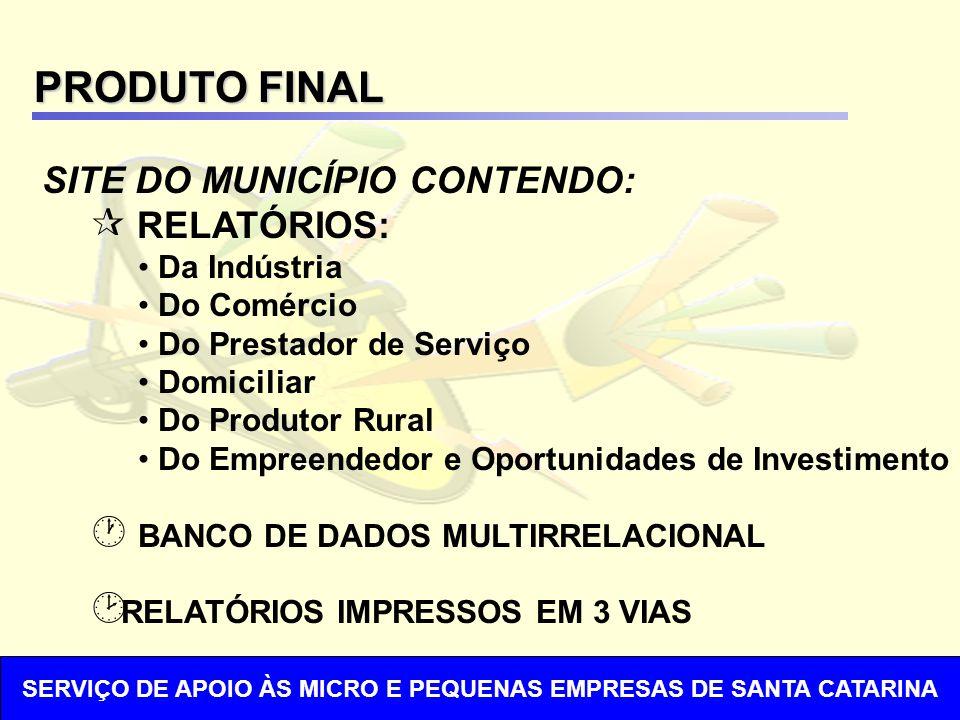 PRODUTO FINAL SITE DO MUNICÍPIO CONTENDO: ¶ RELATÓRIOS: Da Indústria Do Comércio Do Prestador de Serviço Domiciliar Do Produtor Rural Do Empreendedor e Oportunidades de Investimento · BANCO DE DADOS MULTIRRELACIONAL ¸ RELATÓRIOS IMPRESSOS EM 3 VIAS SERVIÇO DE APOIO ÀS MICRO E PEQUENAS EMPRESAS DE SANTA CATARINA