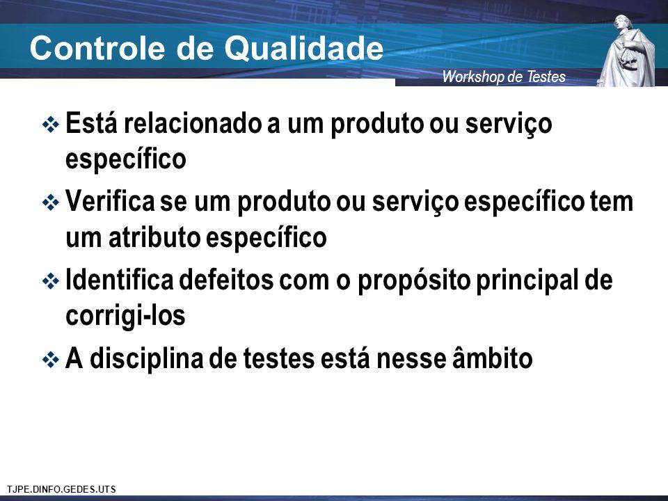 TJPE.DINFO.GEDES.UTS Workshop de Testes Controle de Qualidade Está relacionado a um produto ou serviço específico Verifica se um produto ou serviço específico tem um atributo específico Identifica defeitos com o propósito principal de corrigi-los A disciplina de testes está nesse âmbito
