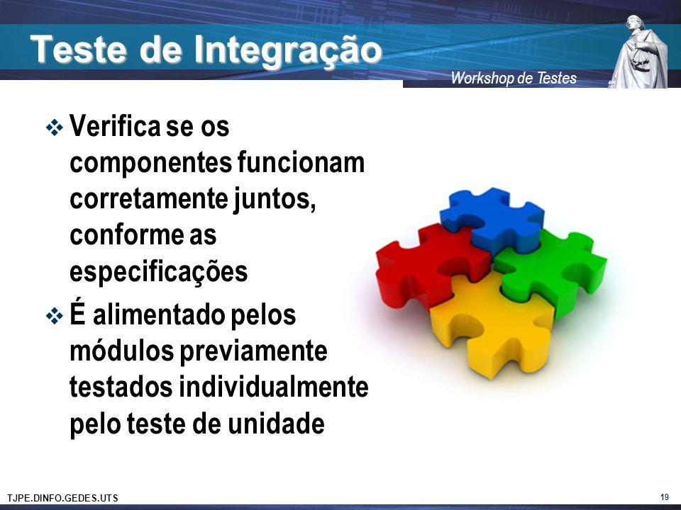 TJPE.DINFO.GEDES.UTS Workshop de Testes Teste de Integração 19 Verifica se os componentes funcionam corretamente juntos, conforme as especificações É