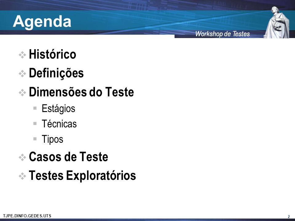 TJPE.DINFO.GEDES.UTS Workshop de Testes Agenda Histórico Definições Dimensões do Teste Estágios Técnicas Tipos Casos de Teste Testes Exploratórios 2