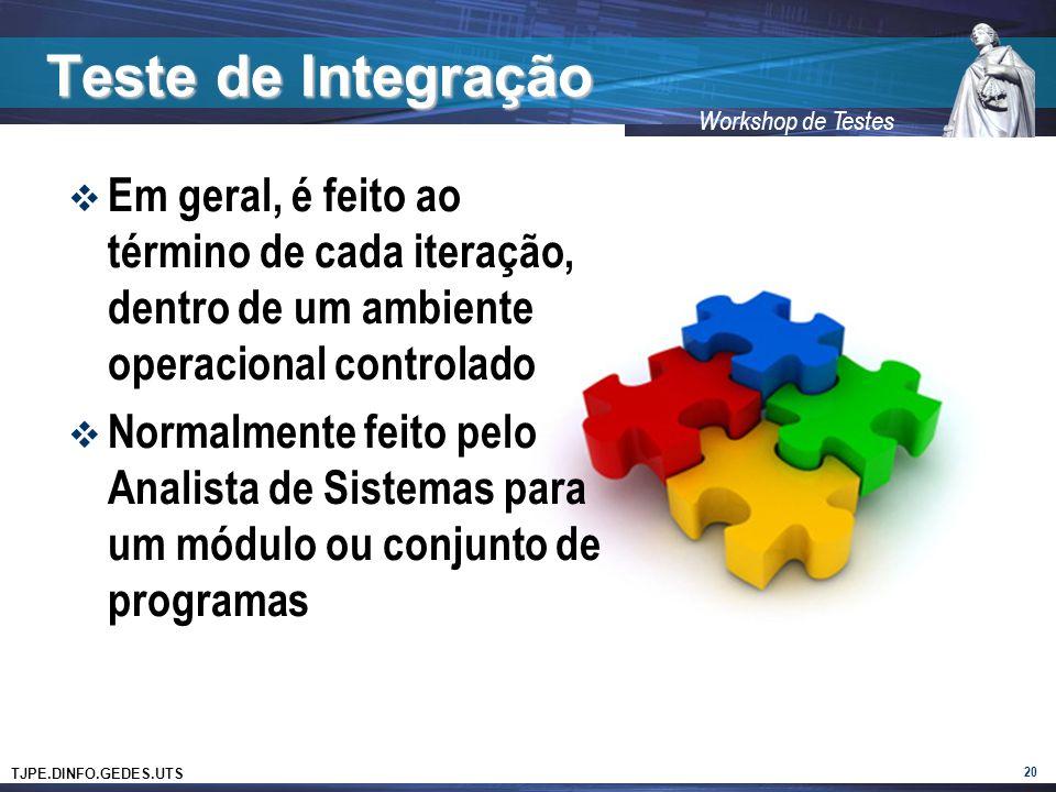 TJPE.DINFO.GEDES.UTS Workshop de Testes Teste de Integração 20 Em geral, é feito ao término de cada iteração, dentro de um ambiente operacional contro