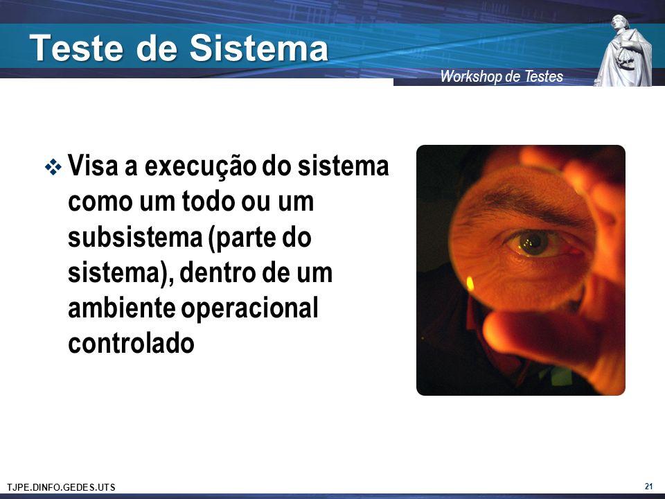 TJPE.DINFO.GEDES.UTS Workshop de Testes Teste de Sistema Visa a execução do sistema como um todo ou um subsistema (parte do sistema), dentro de um ambiente operacional controlado 21