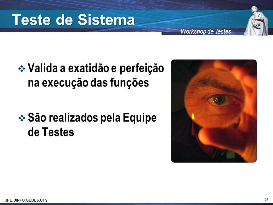 TJPE.DINFO.GEDES.UTS Workshop de Testes Teste de Sistema Valida a exatidão e perfeição na execução das funções São realizados pela Equipe de Testes 22