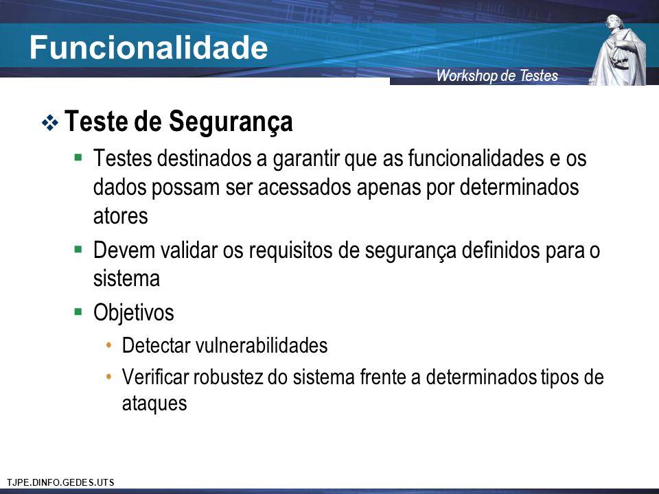 TJPE.DINFO.GEDES.UTS Workshop de Testes Funcionalidade Teste de Segurança Testes destinados a garantir que as funcionalidades e os dados possam ser ac