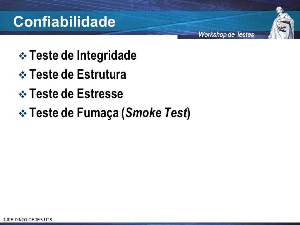 TJPE.DINFO.GEDES.UTS Workshop de Testes Confiabilidade Teste de Integridade Teste de Estrutura Teste de Estresse Teste de Fumaça ( Smoke Test )