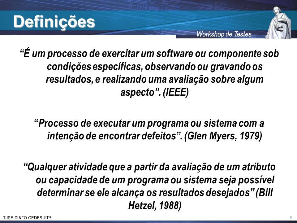 TJPE.DINFO.GEDES.UTS Workshop de Testes Definições É um processo de exercitar um software ou componente sob condições específicas, observando ou grava