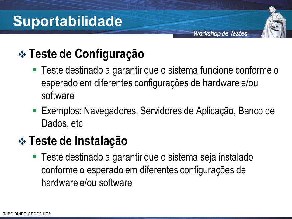 TJPE.DINFO.GEDES.UTS Workshop de Testes Suportabilidade Teste de Configuração Teste destinado a garantir que o sistema funcione conforme o esperado em