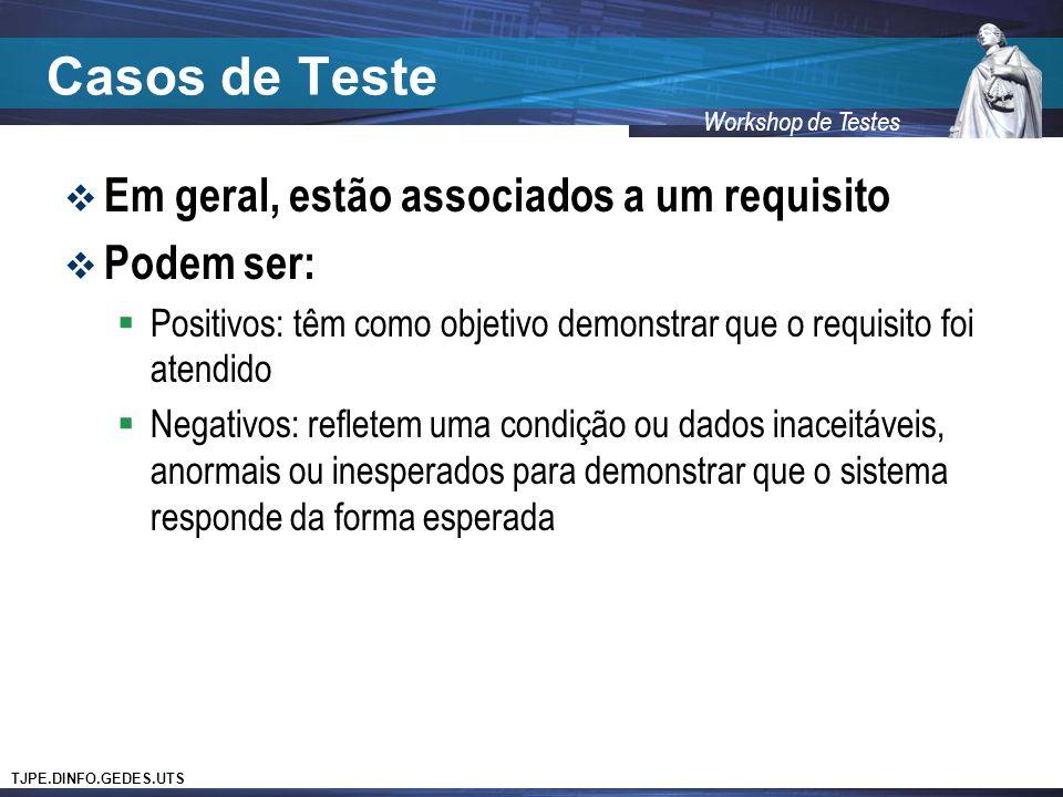 TJPE.DINFO.GEDES.UTS Workshop de Testes Casos de Teste Em geral, estão associados a um requisito Podem ser: Positivos: têm como objetivo demonstrar qu