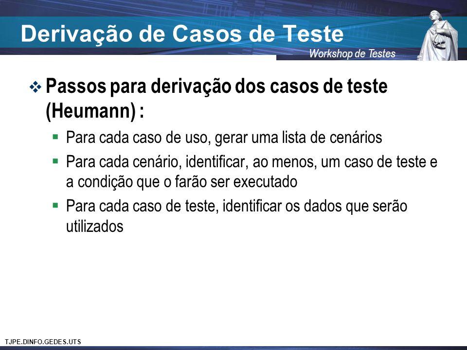 TJPE.DINFO.GEDES.UTS Workshop de Testes Derivação de Casos de Teste Passos para derivação dos casos de teste (Heumann) : Para cada caso de uso, gerar
