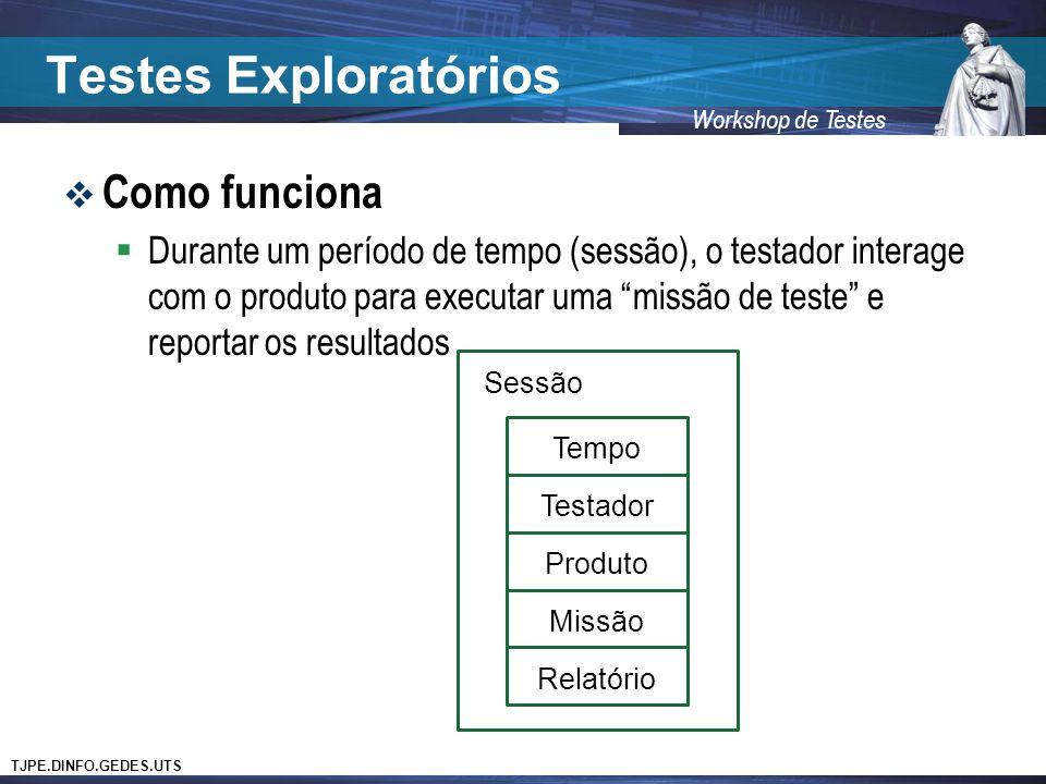 TJPE.DINFO.GEDES.UTS Workshop de Testes Testes Exploratórios Como funciona Durante um período de tempo (sessão), o testador interage com o produto para executar uma missão de teste e reportar os resultados Sessão Tempo Testador Produto Missão Relatório