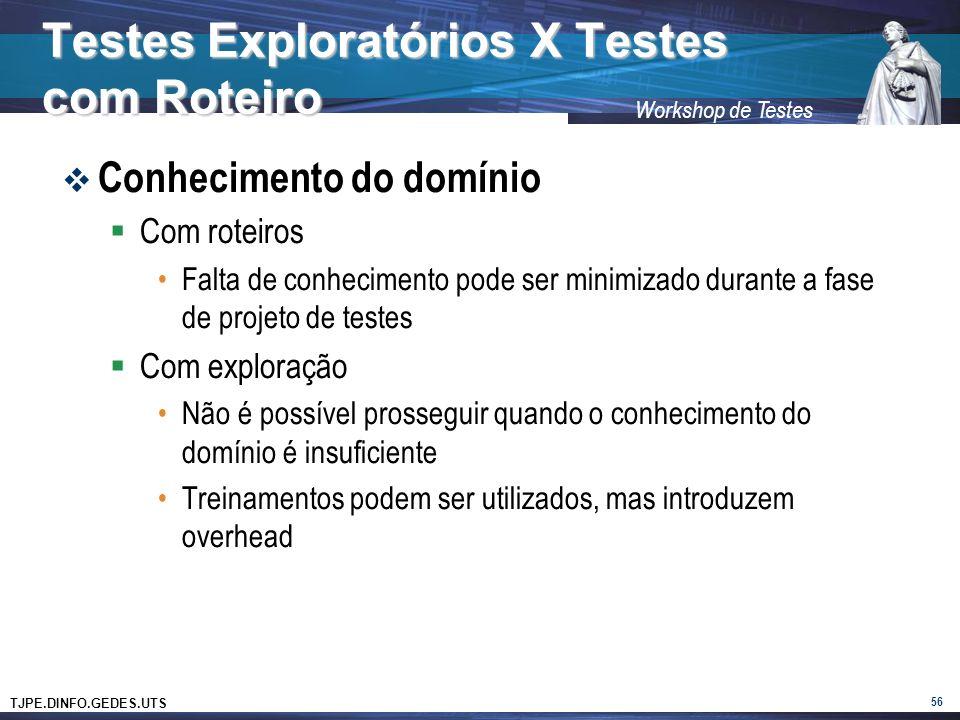 TJPE.DINFO.GEDES.UTS Workshop de Testes Testes Exploratórios X Testes com Roteiro Conhecimento do domínio Com roteiros Falta de conhecimento pode ser minimizado durante a fase de projeto de testes Com exploração Não é possível prosseguir quando o conhecimento do domínio é insuficiente Treinamentos podem ser utilizados, mas introduzem overhead 56