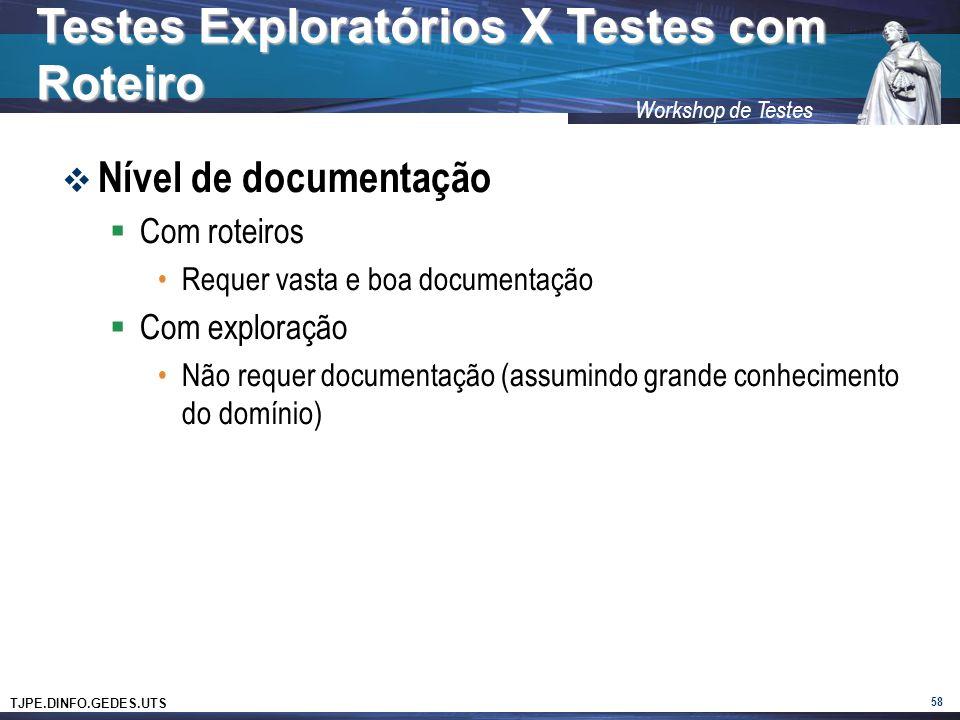 TJPE.DINFO.GEDES.UTS Workshop de Testes Nível de documentação Com roteiros Requer vasta e boa documentação Com exploração Não requer documentação (ass