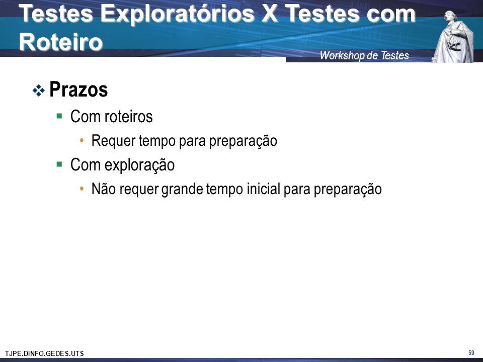 TJPE.DINFO.GEDES.UTS Workshop de Testes Prazos Com roteiros Requer tempo para preparação Com exploração Não requer grande tempo inicial para preparação 59 Testes Exploratórios X Testes com Roteiro