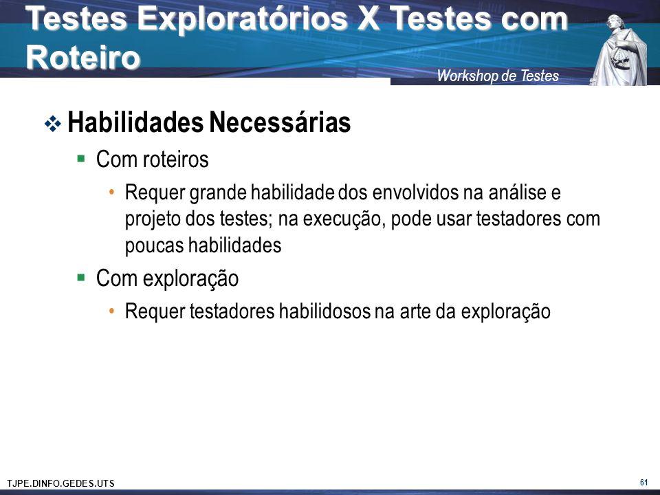TJPE.DINFO.GEDES.UTS Workshop de Testes Habilidades Necessárias Com roteiros Requer grande habilidade dos envolvidos na análise e projeto dos testes; na execução, pode usar testadores com poucas habilidades Com exploração Requer testadores habilidosos na arte da exploração 61 Testes Exploratórios X Testes com Roteiro