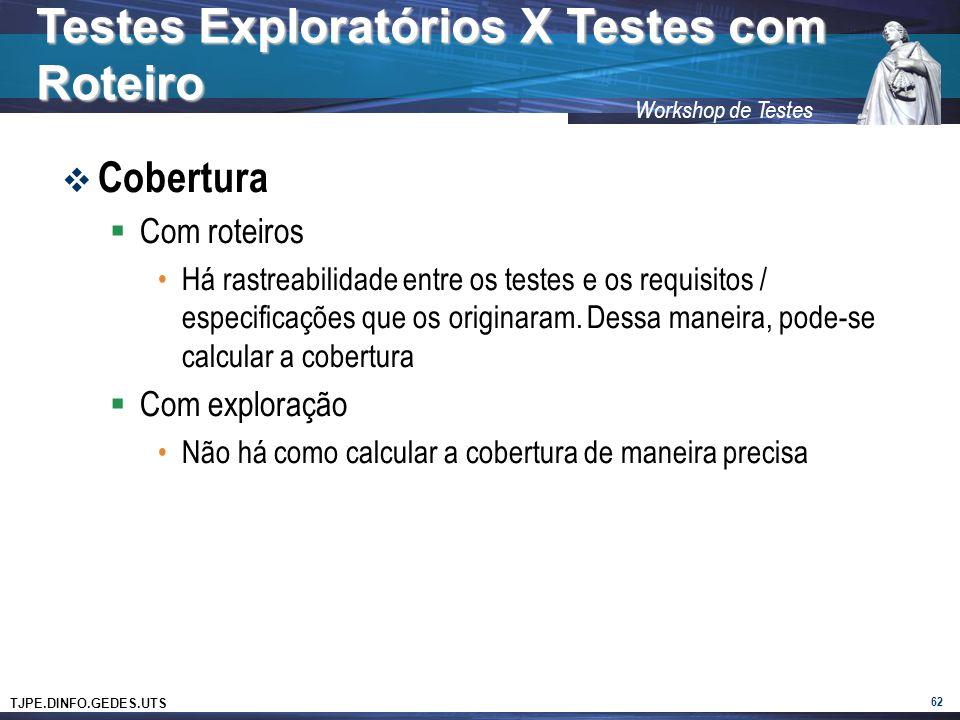 TJPE.DINFO.GEDES.UTS Workshop de Testes Cobertura Com roteiros Há rastreabilidade entre os testes e os requisitos / especificações que os originaram.