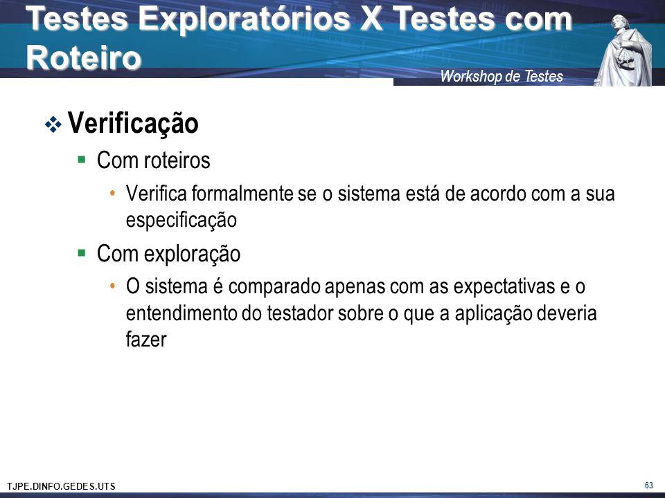 TJPE.DINFO.GEDES.UTS Workshop de Testes Verificação Com roteiros Verifica formalmente se o sistema está de acordo com a sua especificação Com exploraç